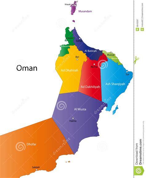 map of oman with cities de kaart oman royalty vrije stock fotografie