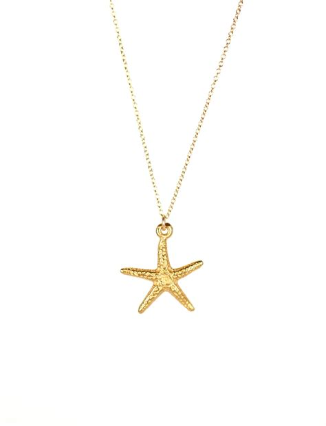 gold starfish necklace delicate necklace by buburuby