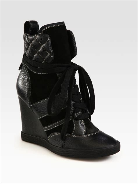 high top wedge sneakers chlo 233 leather and suede high top wedge sneakers in black
