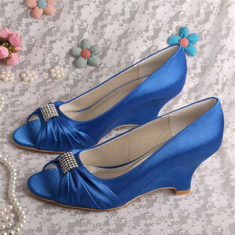 Blue Bridal Wedges by Popular Blue Wedge Wedding Shoes Buy Cheap Blue Wedge