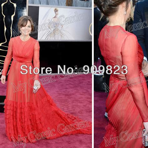 Garden Formal Dresses - red grammys sally field round o neck full length pleated see through a line formal celebrity