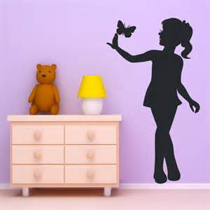 details about little girl and butterfly wall art sticker decal holding skirt silhouette stickers