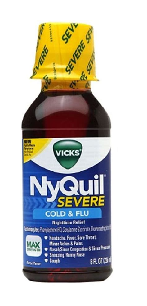 Nyquil Cold Flu Nighttime Relief Liquid vicks nyquil severe cold flu nighttime relief liquid