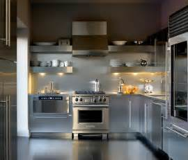 All White Kitchen Designs add sleek shine to your kitchen with stainless steel shelves