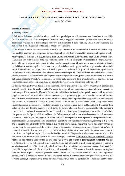 Diritto Commerciale Dispensa by Legge Fallimentare Appunti Di Diritto Commerciale