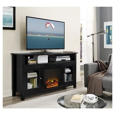 58 quot wood highboy fireplace media tv stand console black