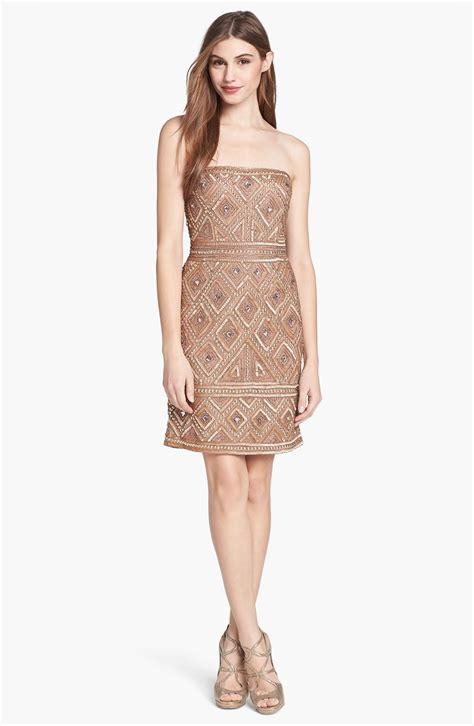 beaded mesh dress papell beaded mesh dress in brown buff lyst