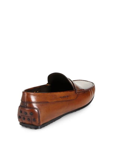 leather loafer tod s city gommini leather loafers in brown for lyst