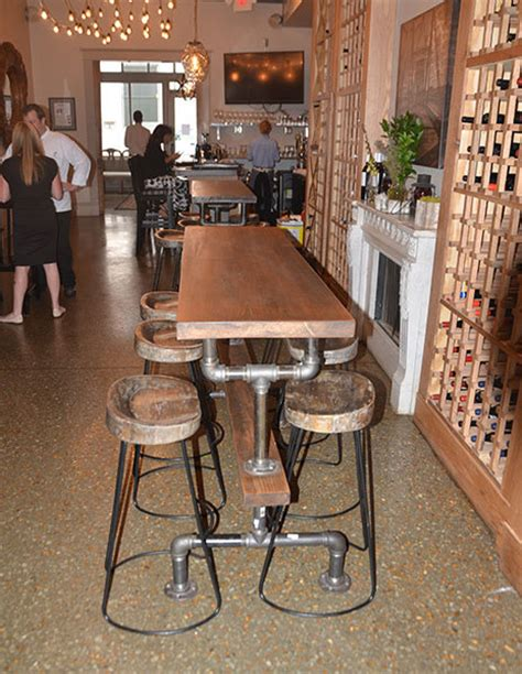 Industrial Farmhouse Bar Height Kitchen Table   The