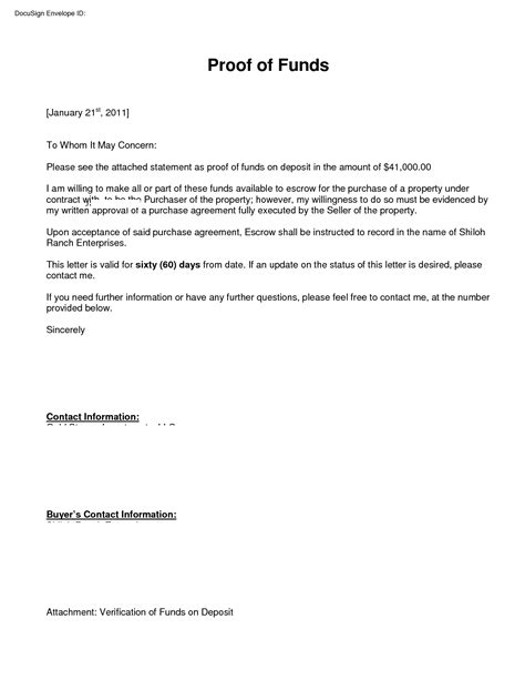 sle proof of funds letter template proof of funding letter sle cover letter exle