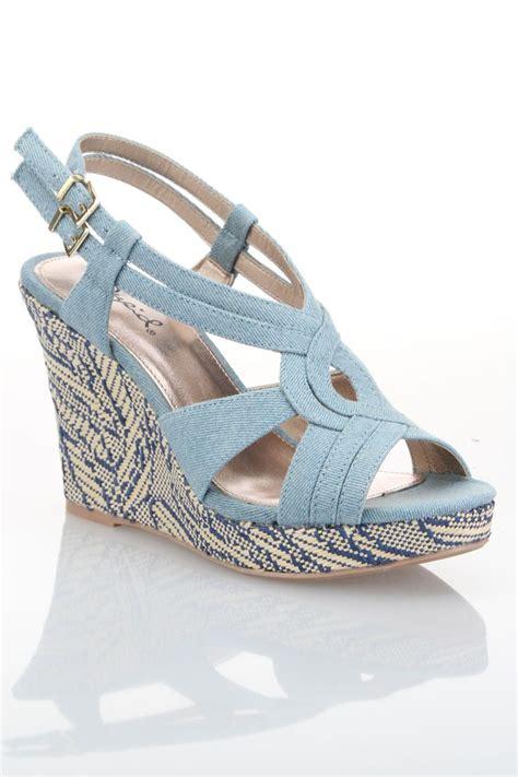 light blue wedge sandals qupid colette 46 open toe wedge sandal in light blue denim