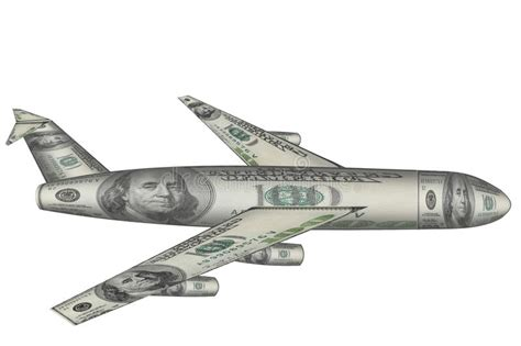airplane made airplane made from dollars flying white stock photo