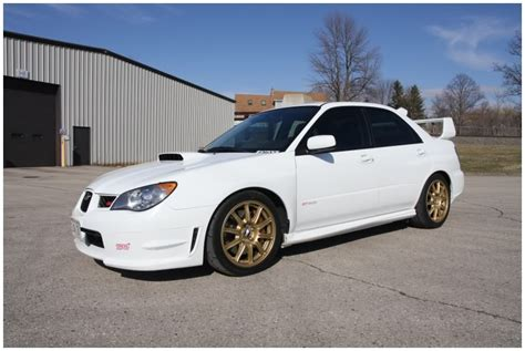 white subaru black rims 2006 subaru impreza wrx sti white with gold bbs wheels
