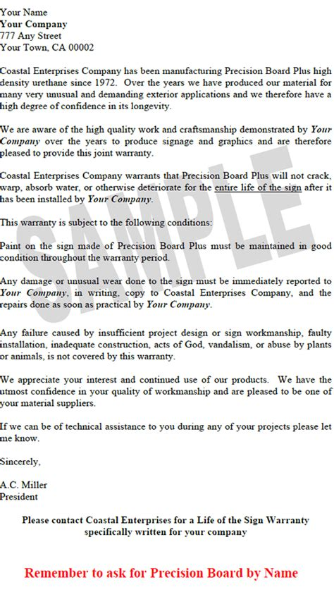 warranty certification letter of sign warranty for precision board from coastal