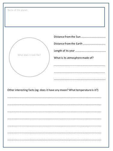 Planet Research Project Outline by Planet Research Worksheet Defendusinbattleblog