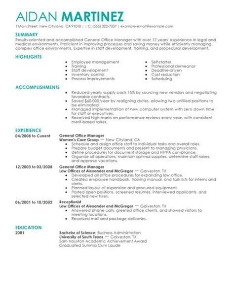 Resume Exle For An Administrative Assistant Office Manager Best General Manager Resume Exle Livecareer