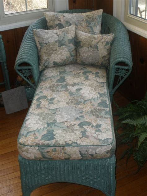 reserved wicker chaise lounge  cushion pillows