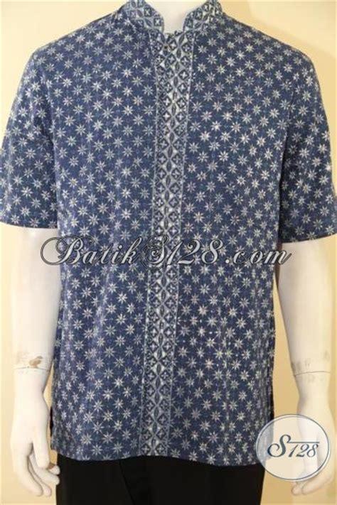 El Mukena Batik Cap Katun kemeja pria warna alam motif truntum warna biru elegan