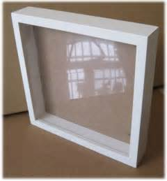 Joyful white wooden square shadow box