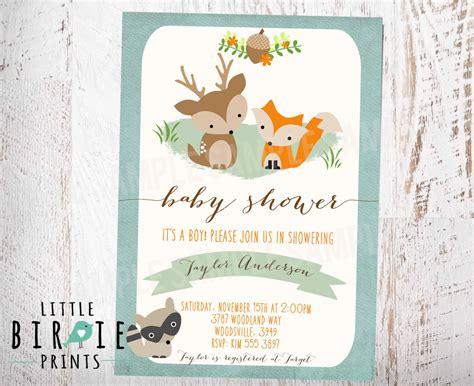 woodland baby shower woodland baby shower invitation fox deer raccoon boy rustic