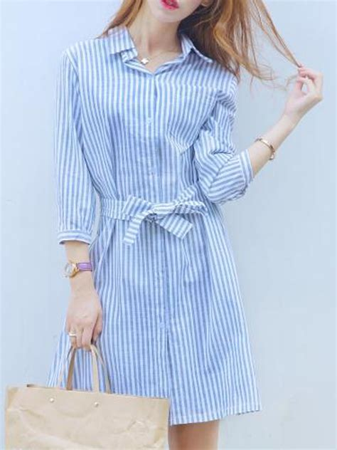 light blue and white striped dress blue and white stripe cut out back tie waist shirt dress