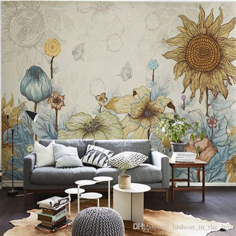 sunflower photo wallpaper vintage wall murals 3d custom wallpaper bedroom living room
