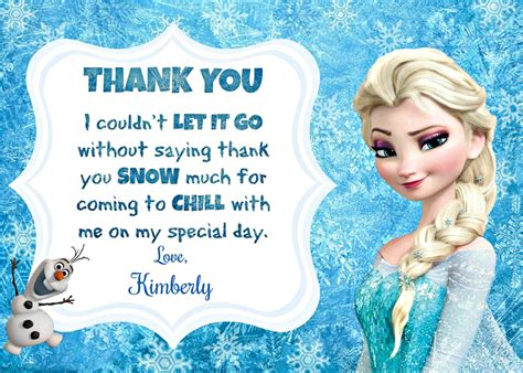 printable frozen thank you cards beadncraft on etsy