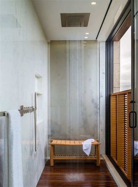 wood floor ceiling bath coming clean bathrooms pinterest shower seating design ideas for luxury bathrooms maison