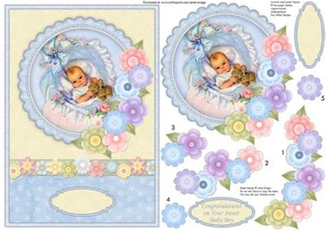 Baby Decoupage - vintage new baby boy florals topper decoupage