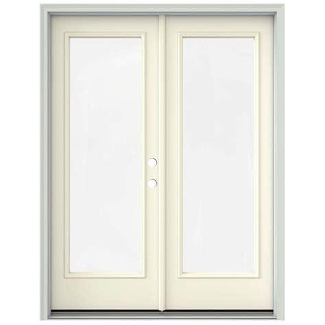 Prehung Patio Doors Jeld Wen 60 In X 80 In Vanilla Prehung Left Inswing 1 Lite Patio Door With
