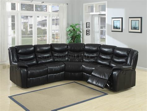 black durable bonded leather modern reclining sectional sofa