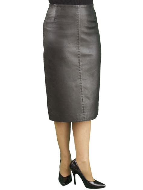 black soft leather midi pencil skirt back split tout