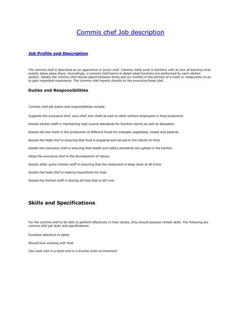 Duties Of A Chef by Commis Chef Description Resume 28 Images Sous Chef Description Nz Cooking Description Sous