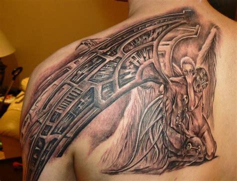 biomechanical tattoo upper back biomechanical back tattoo ideas and biomechanical back