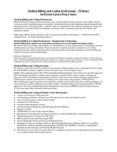 Coding Specialist Cover Letter by Billing And Coding Description For Resume Thebridgesummit Co