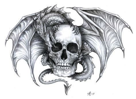 dragon head tattoo design and skull designs inked