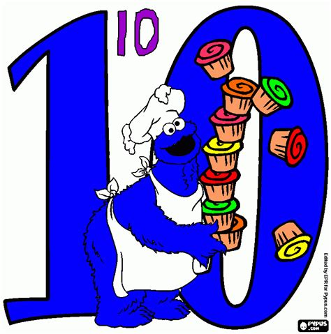Number 10 coloring page, printable Number 10