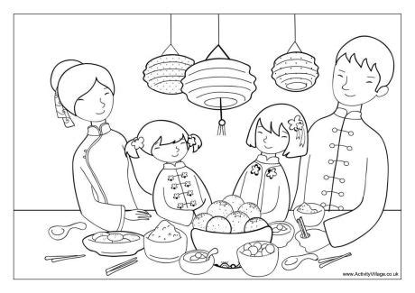 new year themed coloring pages chinese new year dinner colouring page