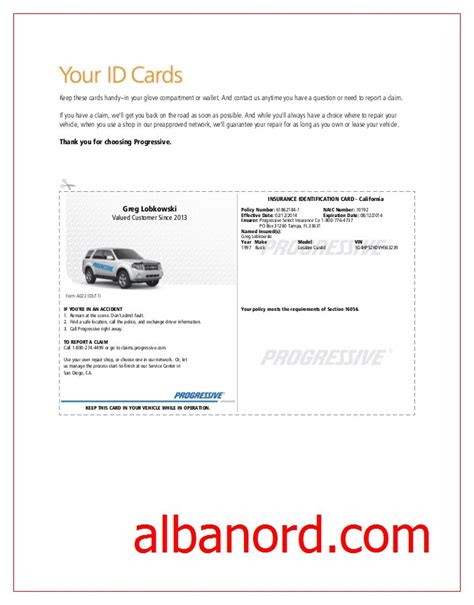 blank insurance card template blank progressive insurance card albanord
