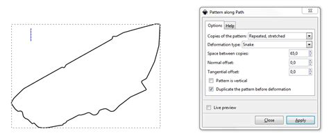 svg pattern along path inkscape divide closed path in arbitraty fractions
