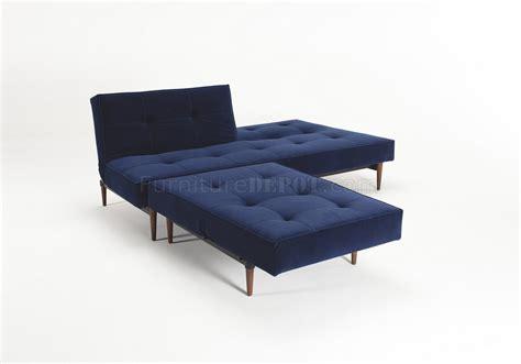 blue velvet sofa bed splitback sofa bed in blue velvet w wood legs by innovation