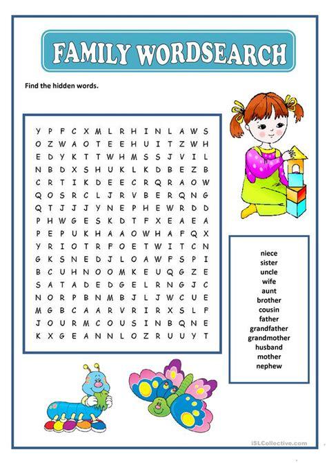 Family Worksheets For Esl
