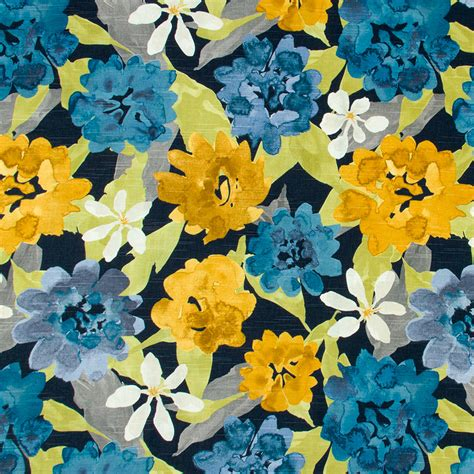 Blue And Yellow Upholstery Fabric by Navy Blue And Yellow Floral Upholstery Fabric Modern Blue