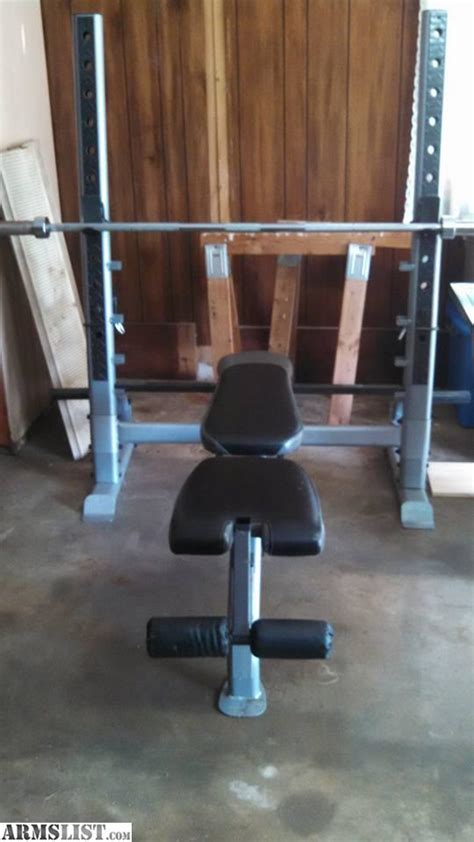 bench press bar and weights for sale armslist for sale trade bench press squat rack with