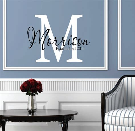 custom family monogram initial wall art home by wall decals personalized family name custom name wall decal