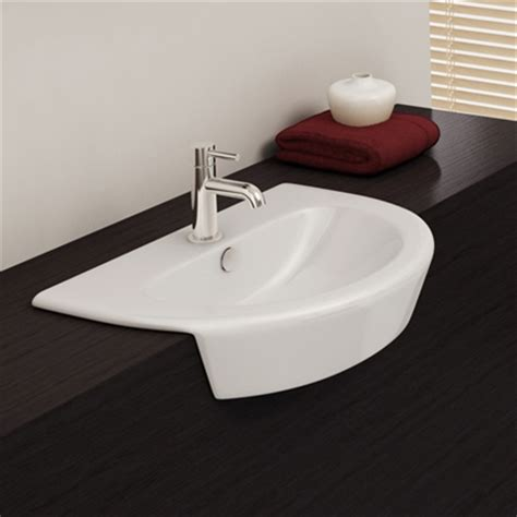 Bathroom Basin Curved Cruise Semi Recessed Basin With One Tap Ideal
