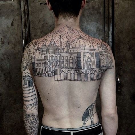 city line tattoo big landmark line work by m x m tattoomagz