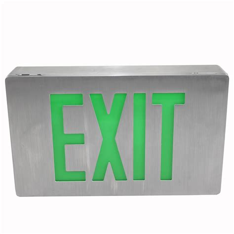isolite lpdcn green die cast brushed aluminum led exit