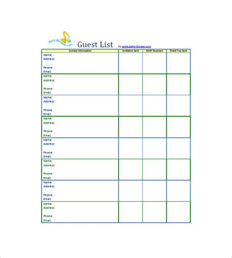 Baby Shower List Template by Baby Shower Guest List Template Www Pixshark