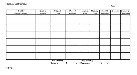 Business Debt Schedule A Template For Entrepreneurs Debt Schedule Template
